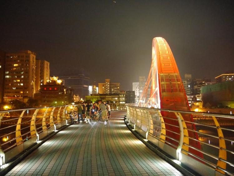 Taiwan Rainbow Bridge Keelung River 2 Night Time Scenery